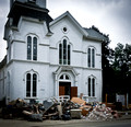 The United Methodist Church in Tioga Center, largely gutted